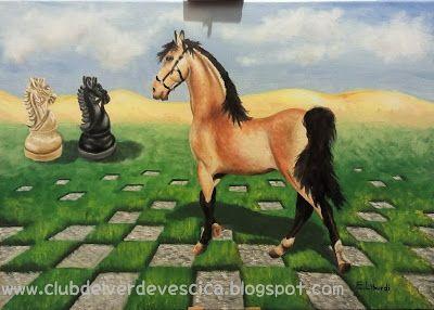 club del verde vescica                                       : Dipinto a olio: SCACCHIERA E CAVALLO