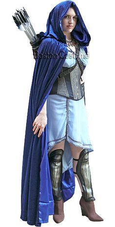 artemis costume. a rental blue, silver, and black costume based on the goddess artemis. artemis r