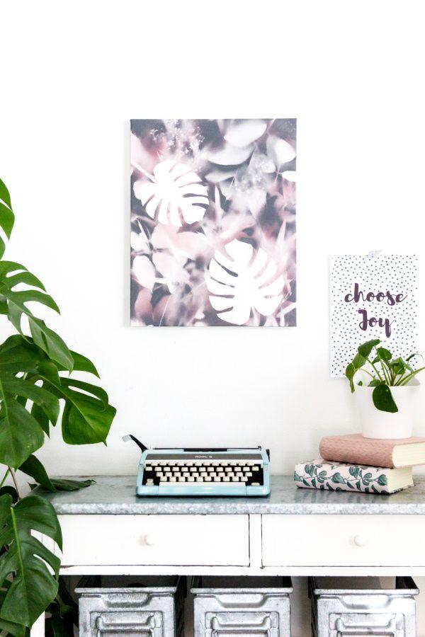 awesome einfache dekoration und mobel wandbilder das styling der wande #1: DIY Leinwandkunst im Urban-Jungle-Style u2013 Wandbild als Deko selber basteln  by titatoni