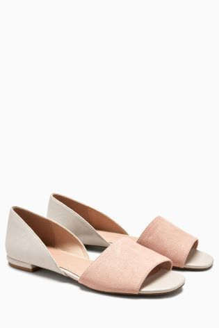 3aa0a31b3ef Blush Silver Mix Peep Toe Two Part Shoes