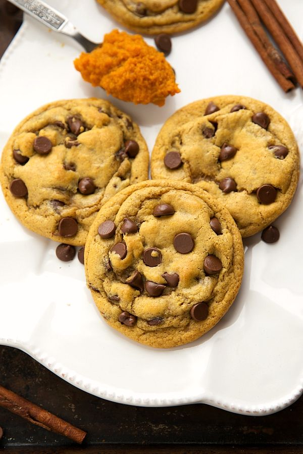 Non Cakey Pumpkin Chocolate chip cookies