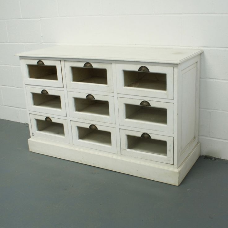 Vintage White Painted 9 Drawer Haberdashery Chest
