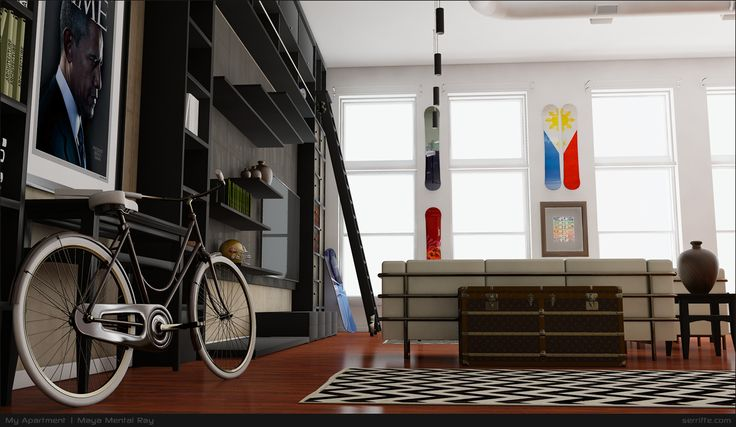 An apartment I designed using Maya and rendered Autodesk.