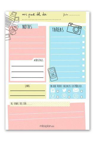 Organizador Blogger Diario, planner imprimible en español.