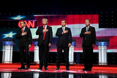 In Republican Debate, Candidates Lower Volume as Five Key Primaries Near - The New York Times