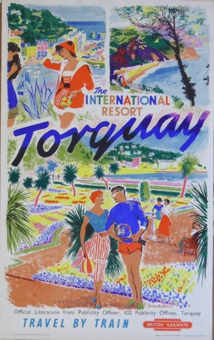 1950s Travel by Train poster for Torquay, Devon. Designed by Percy Brookshaw for British Railways. Percy Drake Brookshaw (1907-1993) was educated at the Central School of Arts and Crafts. He designed posters for the Underground Group and London Transport between 1928 and 1958. #Torquay #Devon www.ilovesouthdevon.com