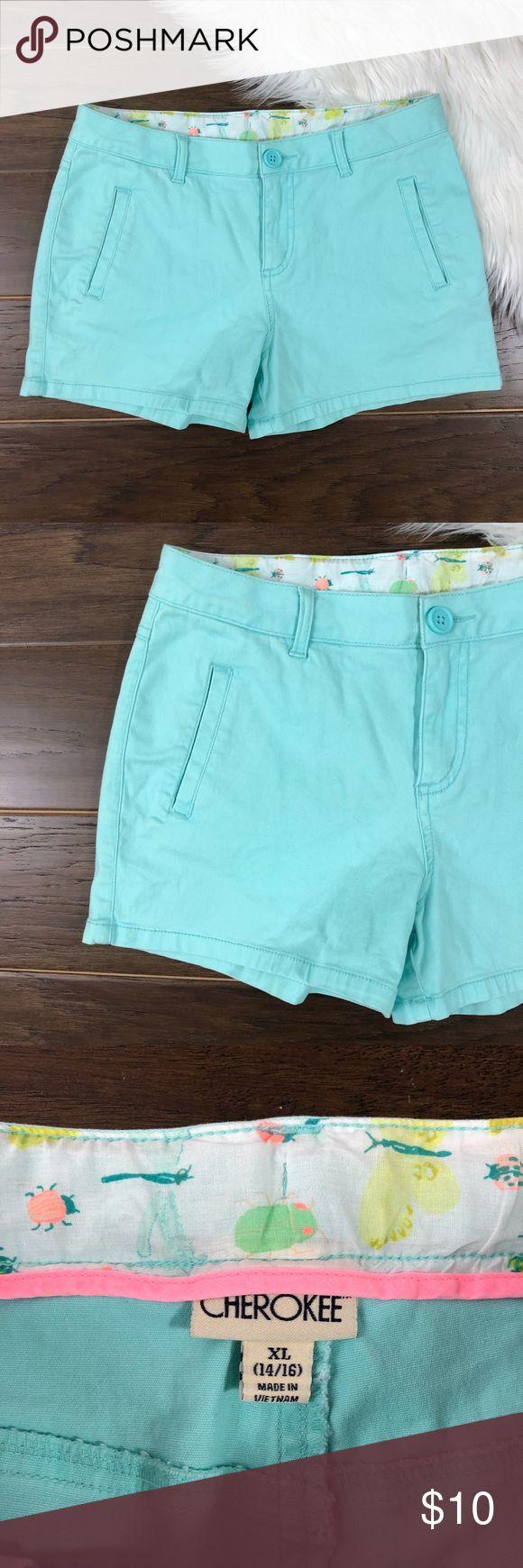 "Cherokee Juniors XL Turquoise Shorts Cherokee Juniors XL Turqoise Shorts  Condition: Excellent Measurements: Waist 28"" - Inseam 3"" - Rise 9"" - Outseam 11"" Material: 98% cotton, 2% spandex Cherokee Shorts"