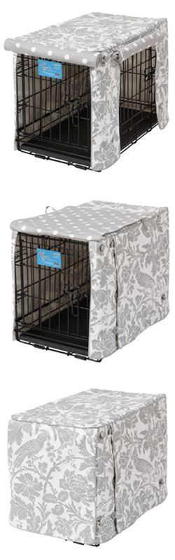 Decor-friendly crate cover for large or small dogs. Lots of ventilation. Made in USA. Hidden seams. Hand-sewn buttons. With or without crate mattress.