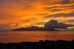 Zonsondergang in Kaapverdië Stock Afbeeldingen