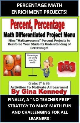 """EXCELLENT PERCENT MATH ENRICHMENT PROJECTS! WRITING, MATH AND RESEARCH INTEGRATION! Students choose three out of nine engaging projects to complete to show their understanding of percentage and the calculation of percentages.   From designing clothes and adding sales prices to choosing a meal fit for a king, students will have the opportunity to work on fun """"higher level"""" projects that provide real life situations about percentages."""