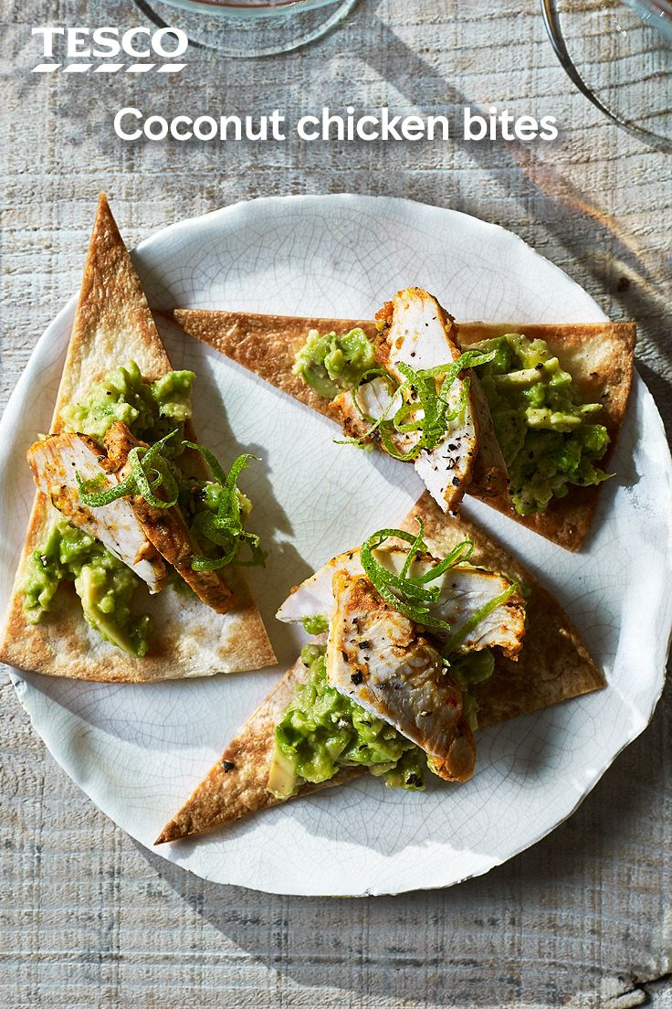 Serve up these super simple coconut chicken canapés for a quick and easy nibble at any Christmas party. All you need is tortilla wraps, avocado, lime and some ready-prepared chicken for a zesty, tasty bite. | Tesco