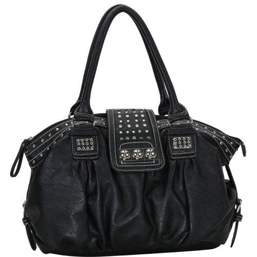MG Collection Brenna Studded Large Shopper Hobo Shoulder Bag, Black, One Size