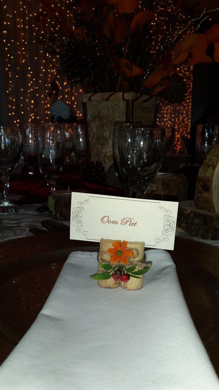 Autumn wedding - wine cork place name