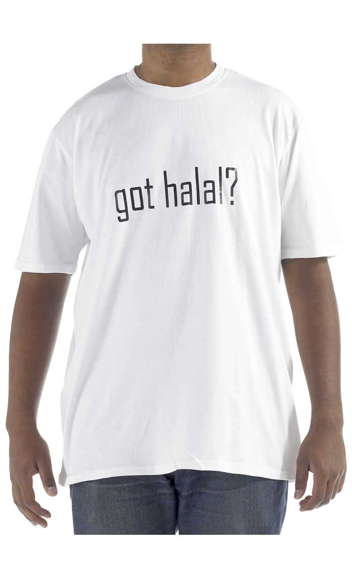 Got Halal.  100% cool comfortable cotton t-shirt.