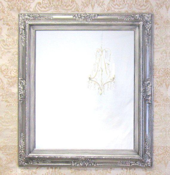 BRUSHED NICKEL ACCENTS Bathroom Mirror Framed by RevivedVintage