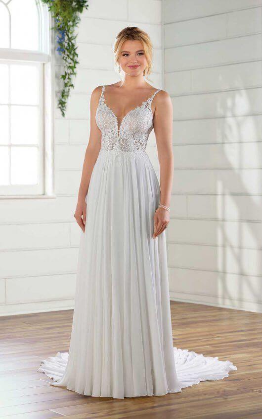 c37a38644fe7 D2741 Casual Wedding Dress with Crepe Chiffon Skirt by Essense of Australia