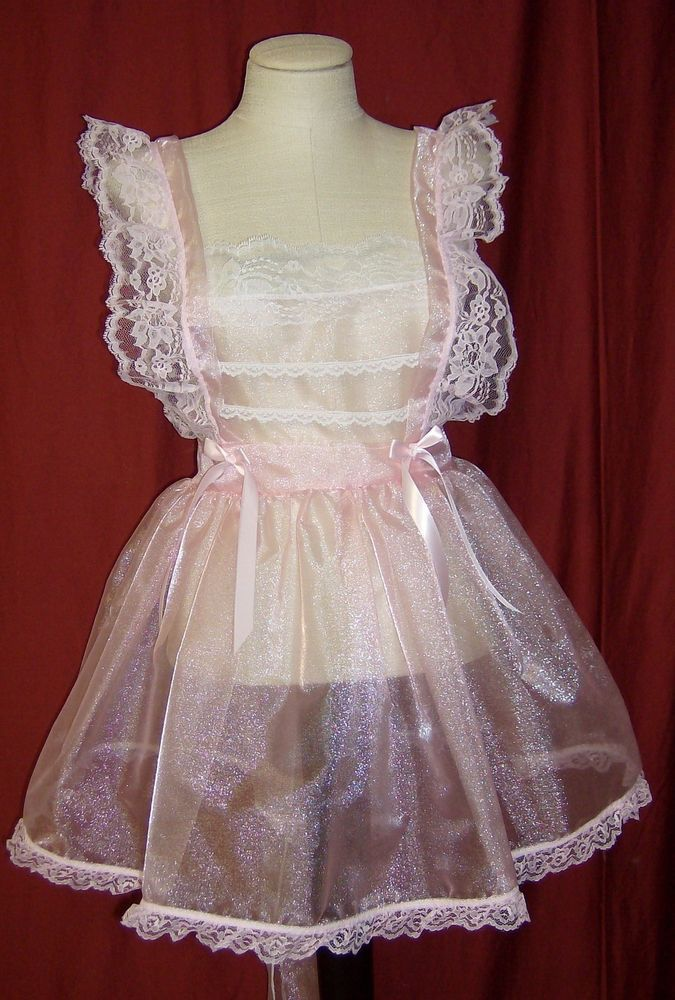 Adult Lacey Pinafore Apron Sexy Baby Frilly Sissy One Size