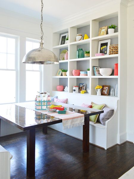 Breakfast nook storage and seating Young House Love | The Heart of The (Show) Home | http://www.younghouselove.com