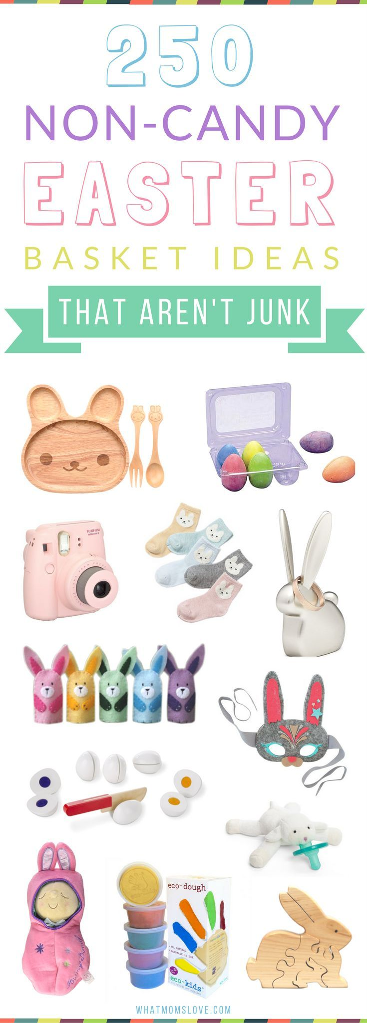 Non-Candy Easter Basket Ideas for Kids Of All Ages - from babies to toddlers, tweens to teens. Unique gifts, goodies, stuffers and fillers for boys and girls that aren't junk! See all 250 fun ideas at http://whatmomslove.com