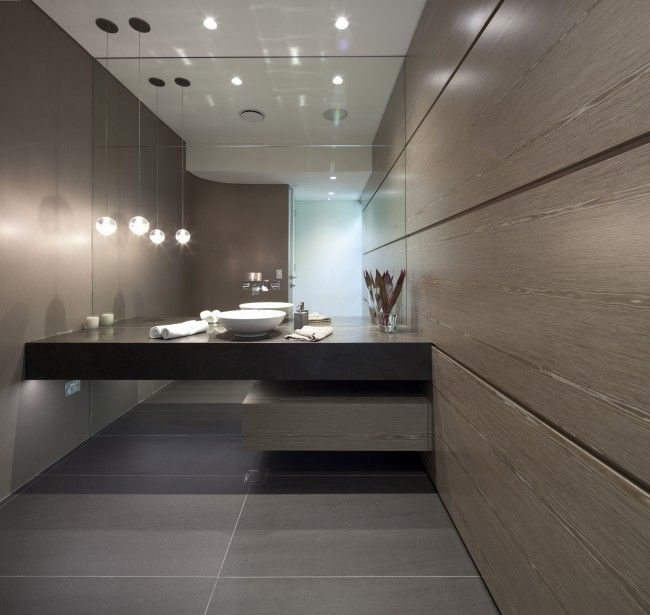 Curved Concrete Form With Finely Slatted Timber Cocoon. Modern  BathroomsSmall ... Part 64