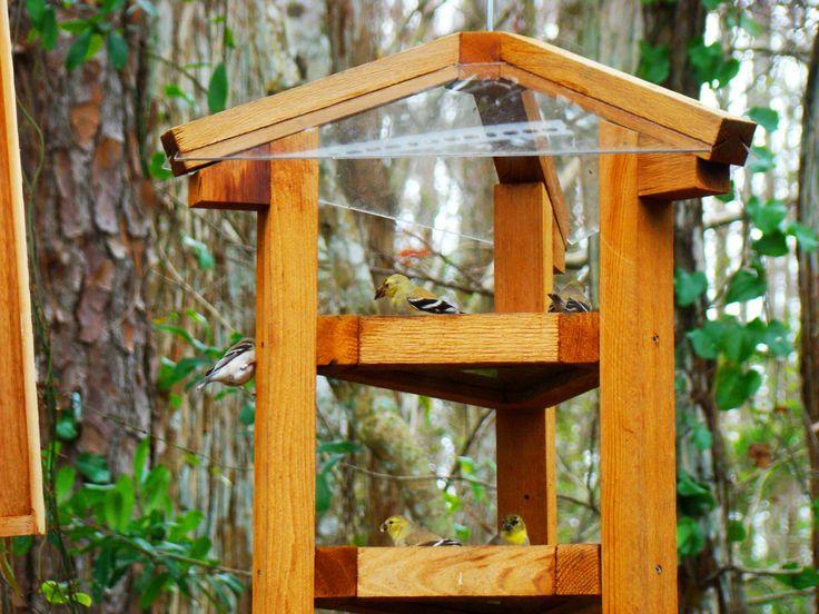Large bird feeders - fly through style cedar wood bird feeders w/ multiple bird feeding levels - dispense sunflower seed, peaunuts, or both by WoodBirdFeederFrenzy on Etsy https://www.etsy.com/listing/176866130/large-bird-feeders-fly-through-style