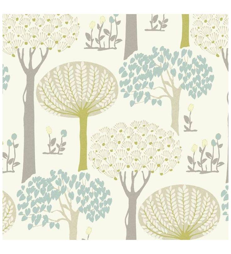 Papel pintado arboles con hojas azules y verdes estilo nordico - 40787