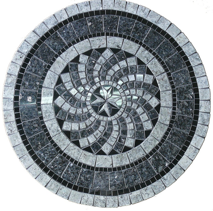 Mosaic mandala Table ~ Picture. Black, charcoal and grey colours.