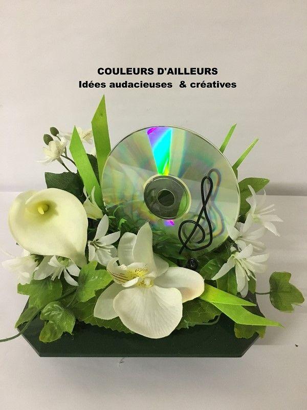 fleurs artificielles blanche avec d coration th me musique fleur artificielle musique cd. Black Bedroom Furniture Sets. Home Design Ideas