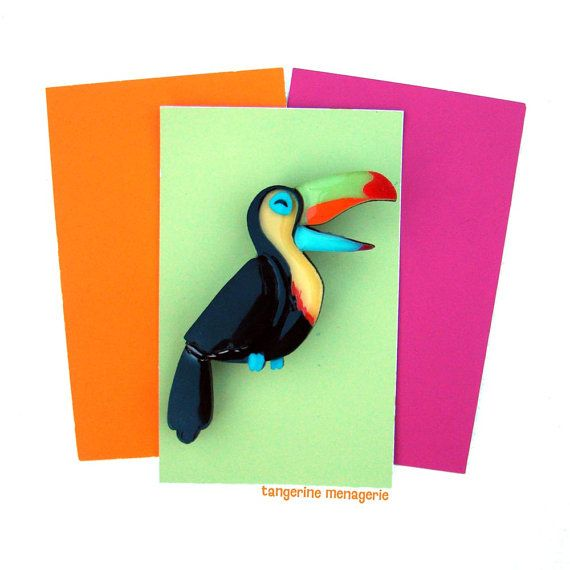 Toucan Vintage Inspired Novelty Brooch by TangerineMenagerie