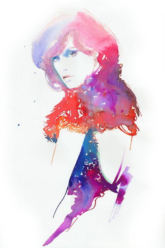 Watercolour Fashion illustration Art Painting by silverridgestudio, $400.00
