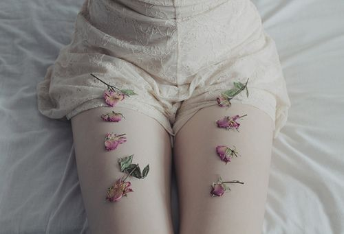 flower petal stems laying on thighs