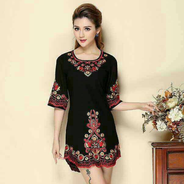 Mini vestido vestido bordado media, noble O cuello negro 3D mexicano Floral mujeres delgadas ' s S-XXXL