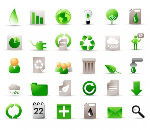 30 Ecology Green Vector Icons Pack - http://www.dawnbrushes.com/30-ecology-green-vector-icons-pack/
