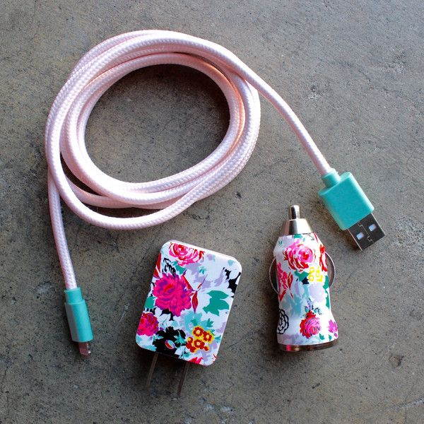 Keep your phone energized with this darling charger by Ban.Do. Features a soft floral print in tones of yellow, lavender, blue, and pink. Included a USB chord,