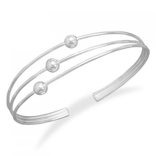 MMA Silver - Thin Wire Cuff with 3 (5mm) Beads MMA Silver. $95.00