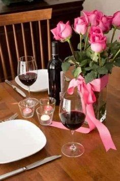 Romantic Dinner Setting for Two with (Wine) and Roses