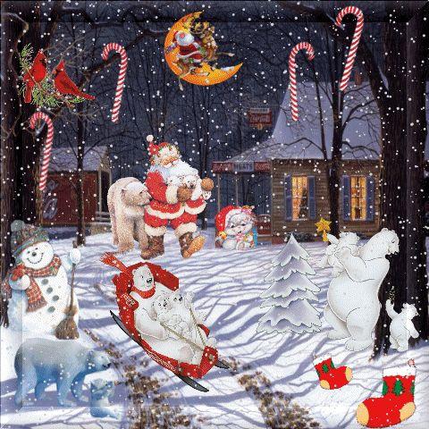 Grote kerstanimatie van een kerstman - Sneeuwlandschap met een huis, ijsberen op een slee, een sneeuwpop, zuurstokken en kerstsokken