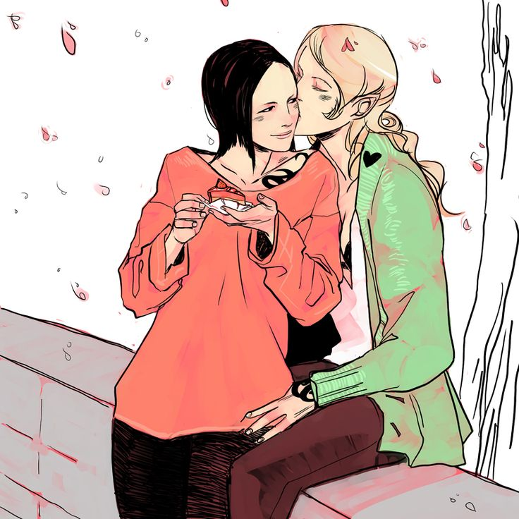 The girls' Shadowhunter calendar. Helen Blackthorn and Aline Penhallow being February 2014, celebrating Valentine's Day. Lookit Helen's cute pointy ears!