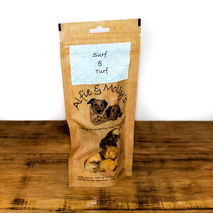 Alfie & Molly's Surf and Turf Dog Treats combine whitefish cubes and beef heart cubes, both of which are an excellent protein boost for active pooches. Made in the UK.