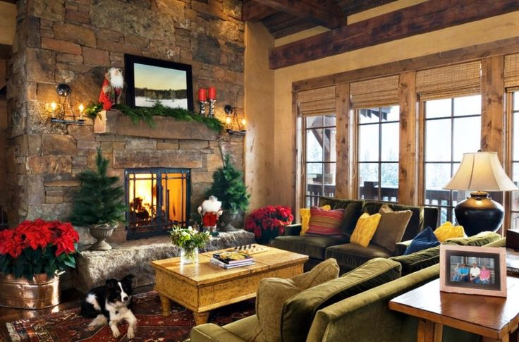 Living Room, Mesmerizing Traditional Grey And White Theme Christmas Living Room Design Ideas With Stone Fireplace And Wooden Ceiling: Christmas Living Room Decorating Ideas