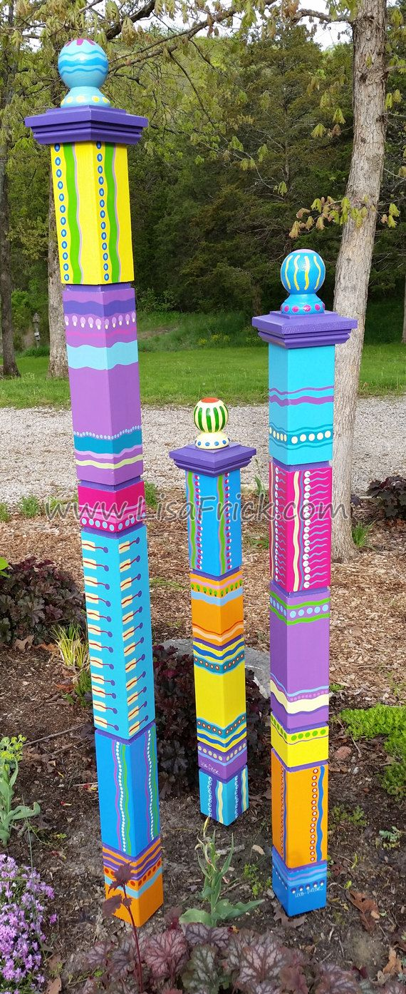 $550 for 3. Set of 3 Garden Totems Garden Sculpture Colorful by LisaFrick