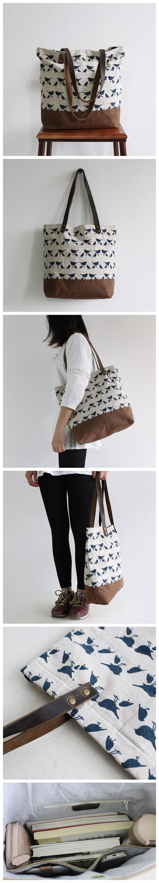 Waxed Canvas Tote with Leather Women's Fashion Bag School Bag Daily Bag Carry All Bag 14050 --------------------------------- - 16oz waxed canvas - Cotton lining - Inside one zipper pocket, one phone