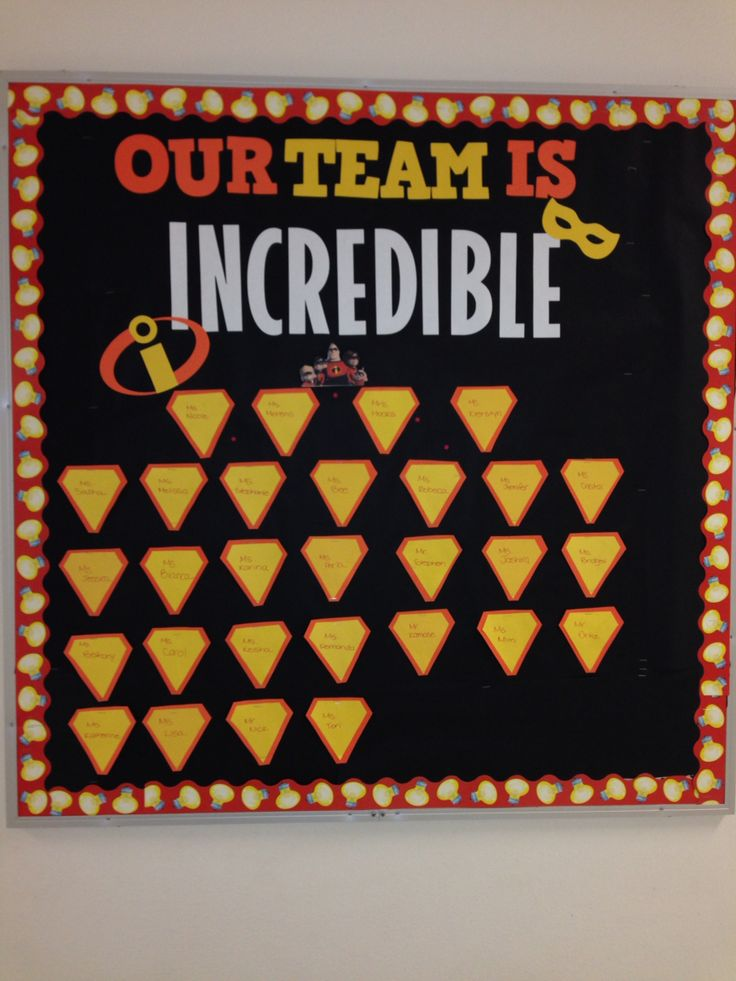 The incredibles bulletin board : Could say Our Books are incredible or Our Library is Incredible :)