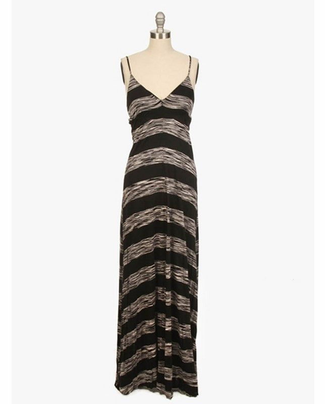Black & White Thick Striped Maxi Dress | 27 Boutique The hem on this dress in unfinished, and is meant to be cut to your perfect length! Keep in mind, the hem will roll slightly as you wear it, so avoid cutting off too much fabric. Be sure to follow washing directions: hand wash & lay flat to dry.