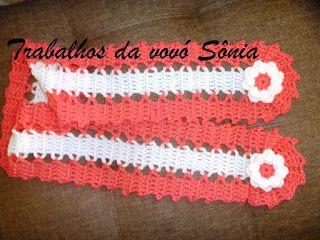 Trabalhos da vovó Sônia: Cachecol infantil pink e bege - crochê