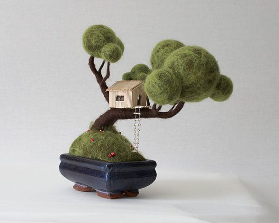 Bonsai needle felted with mushrooms and treehouse by flavialeitao