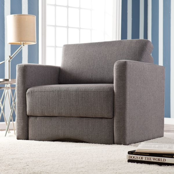 upton home jackson gray upholstered sleeper chair with storage overstock shopping great deals on