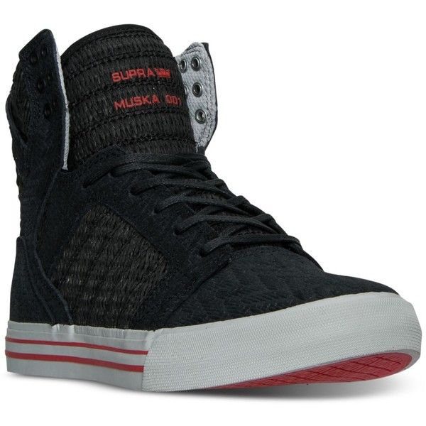 Supra Men's Skytop High-Top Casual Sneakers from Finish Line ($115) ❤ liked on Polyvore featuring men's fashion, men's shoes, men's sneakers, mens black hi top sneakers, mens hi tops, supra mens shoes, mens high top sneakers and mens sneakers
