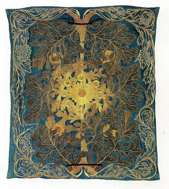 Bedcover design by William Morris, produced by Morris & Co in 1876