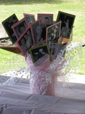 Showcase your graduate with this great centerpiece made in school colors and very personal.  Make several to decorate those graduation party tables!